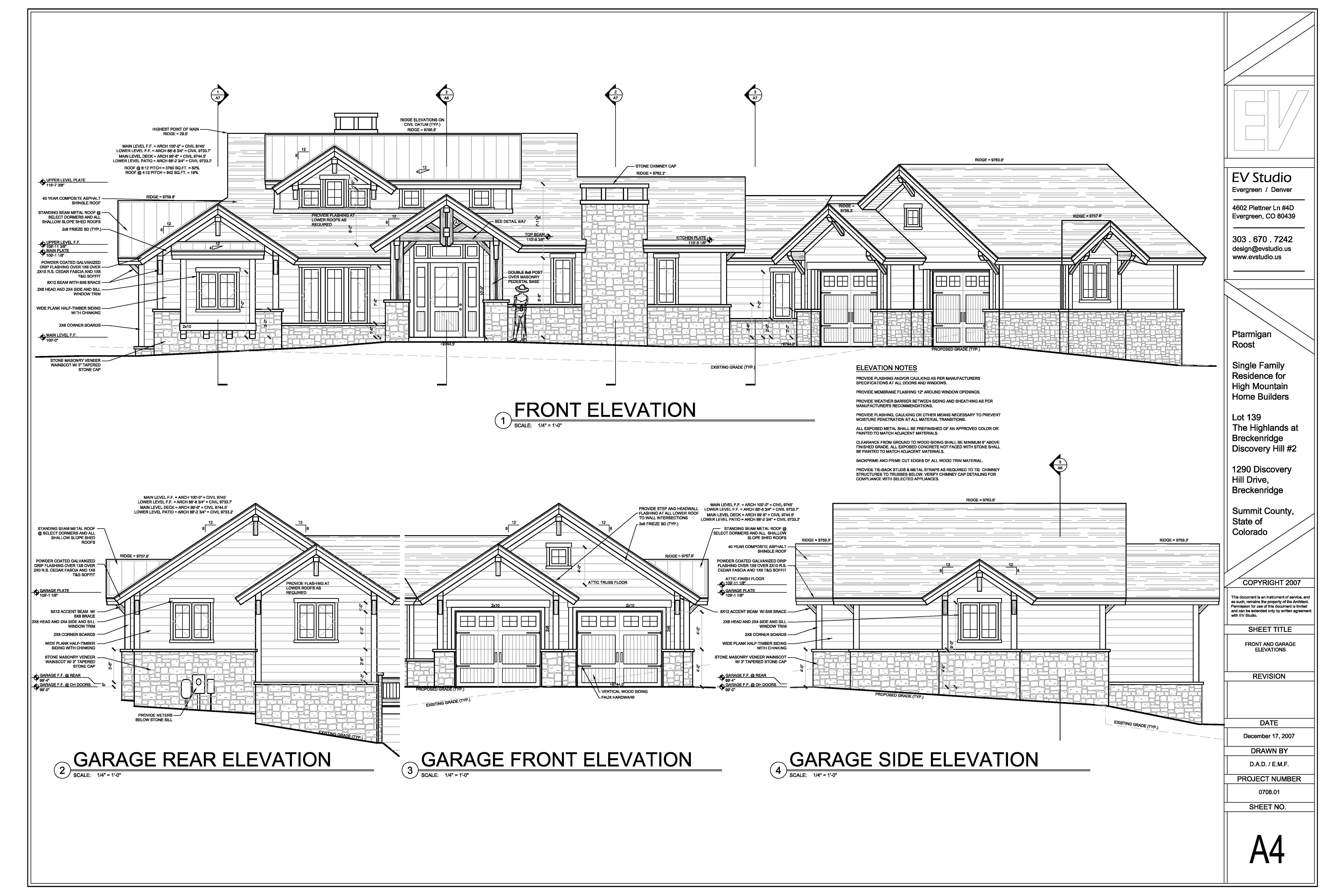 Sample SD level exterior elevations for submittal