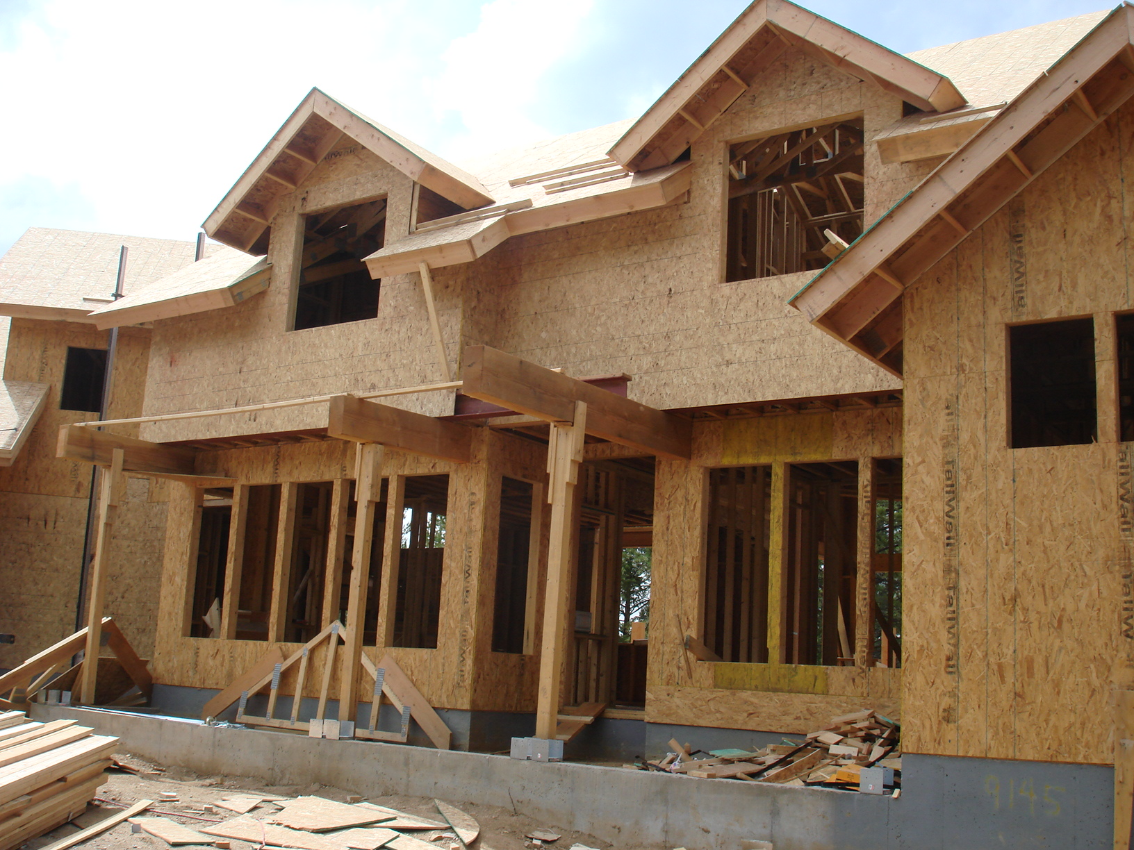 Typical wood frame home with OSB wall and roof sheathing