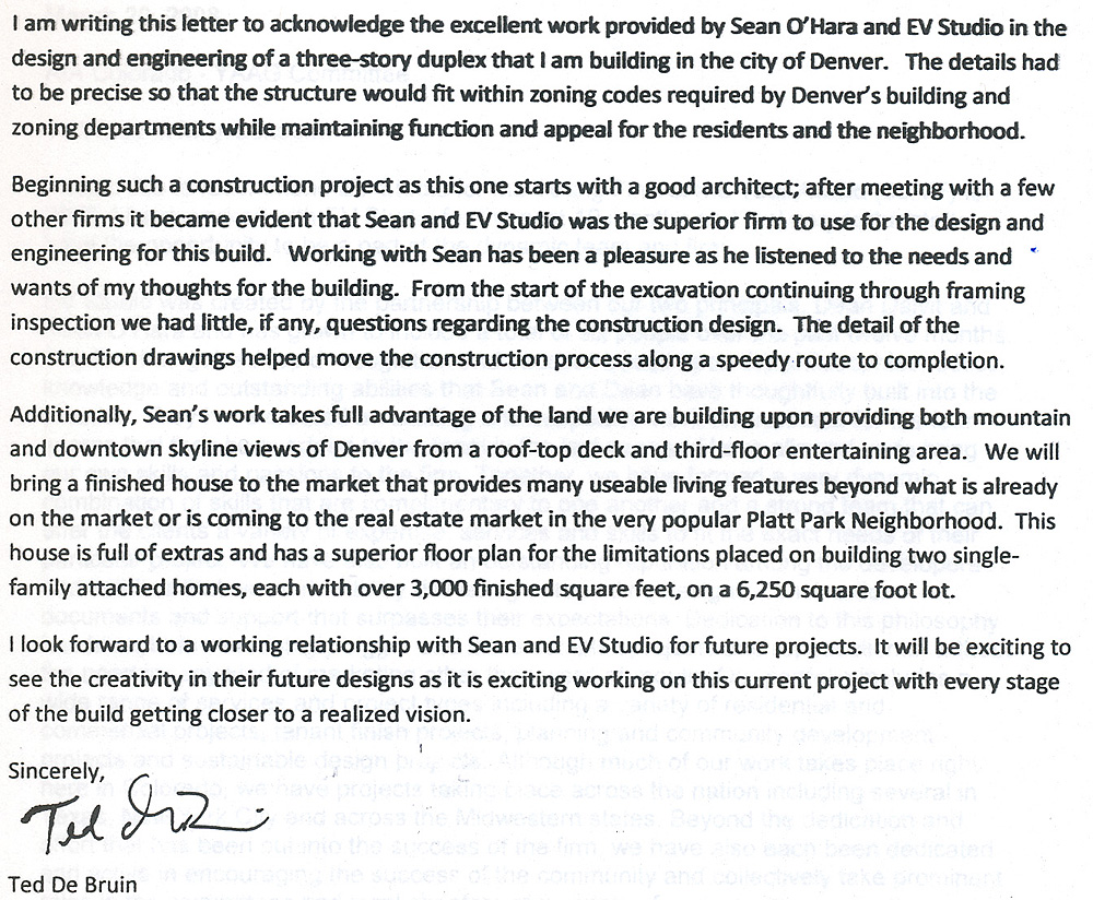 Letter Of Recommendation For Evstudio Architecture From Ted De Bruin