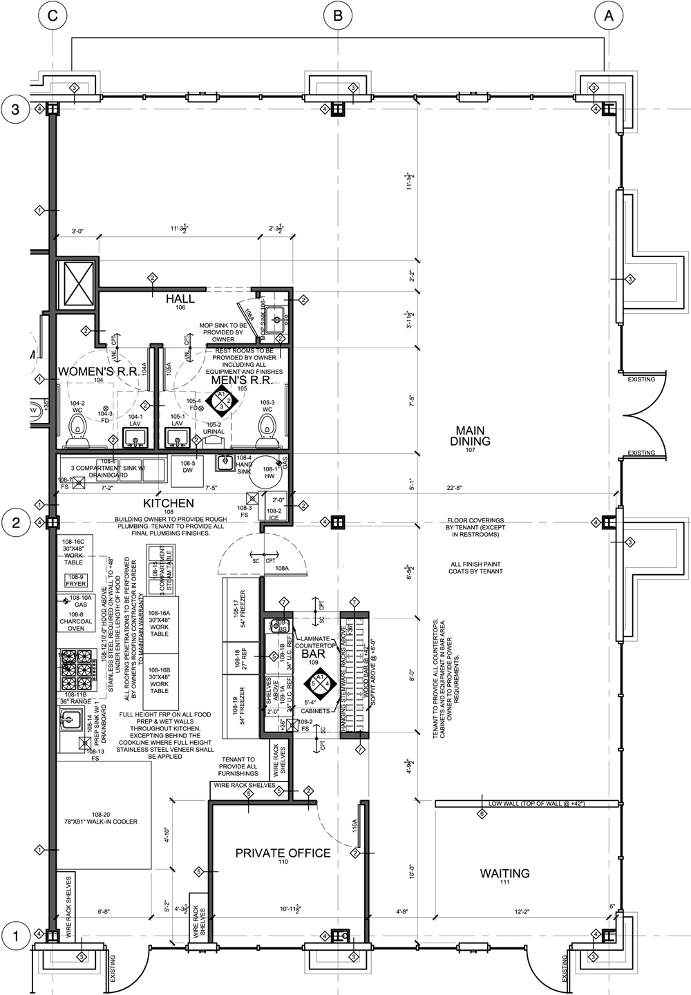 Restaurant Floor Plan for Tenant Improvement – Taste of Himalaya