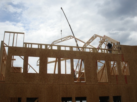 Setting Attic Trusses at the Diamond Building