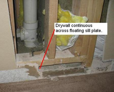 Jim Houlette observed this incorrect floating sill plate while working at a previous employer, MNA.